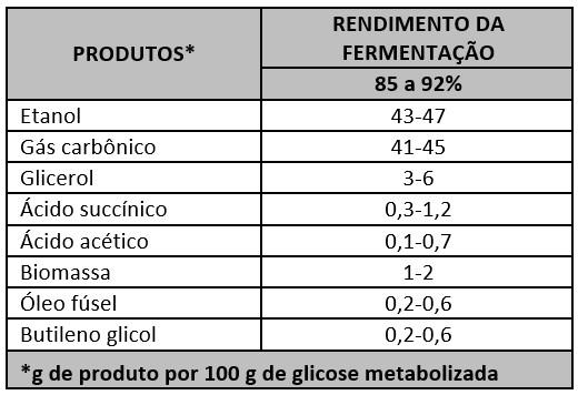 Tabela 1: Balanço de massa da fermentação Formação de produtos secundários compete com a formação de etanol