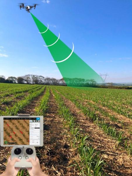 Figura 1. Captação de imagens para mensuração de falhas no canavial via drone